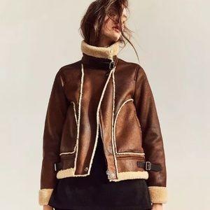 Zara Contrast Fleece Aviator Bomber Jacket